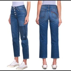 Sundry patch high waist jeans button fly ankle